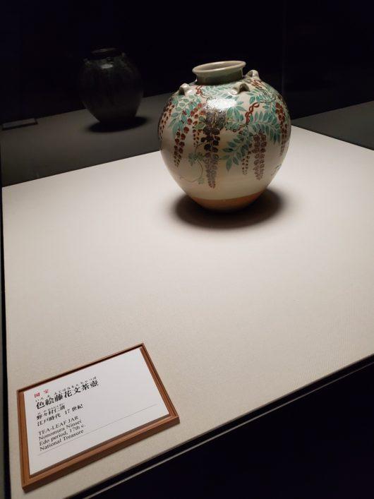 色絵藤花文茶壺